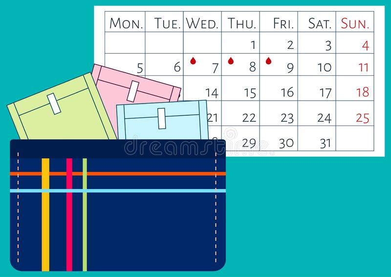 Vector illustratoin of calendar and menstruation sanitary soft pads in a kit. Woman critical days, menstrual cycle. A beautician w vector illustration