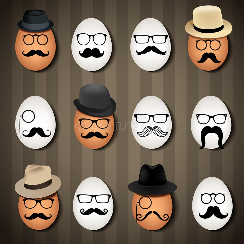 Vector illustrator many hipster eggs on brown background royalty free illustration
