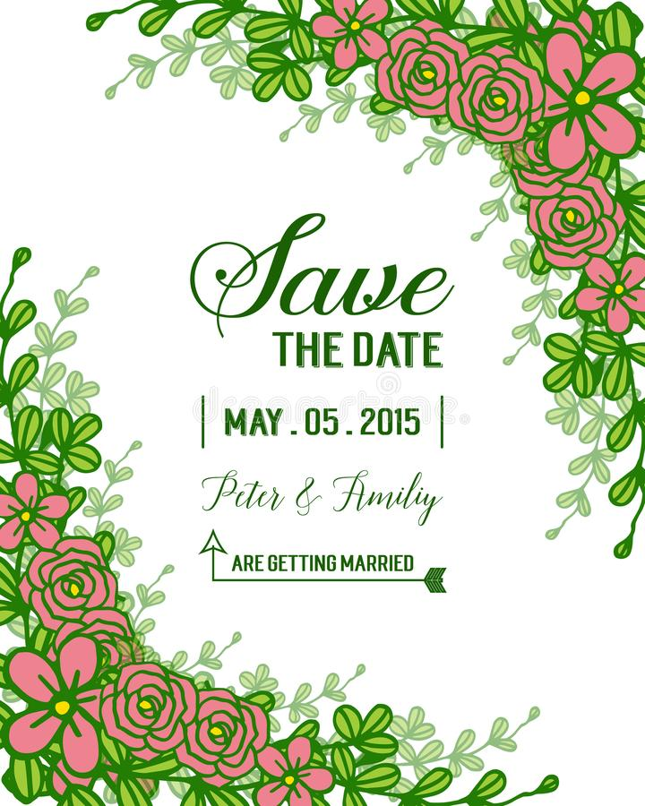 Vector illustreation wedding invitation template decorated with rose wreath frame stock photo