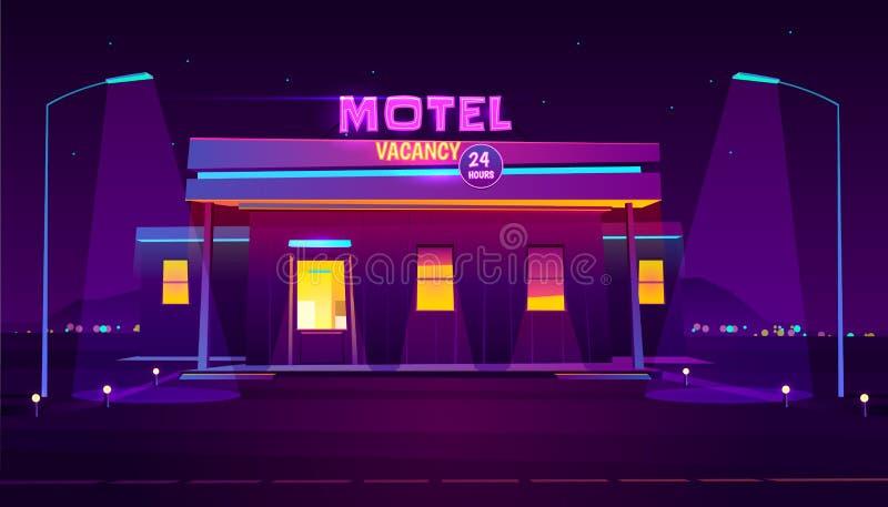 Vector iluminado de la historieta del edificio del motel del camino libre illustration