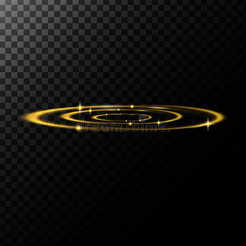 Vector a ilustração abstrata de efeitos de uma luz na forma do círculos dourados ilustração do vetor