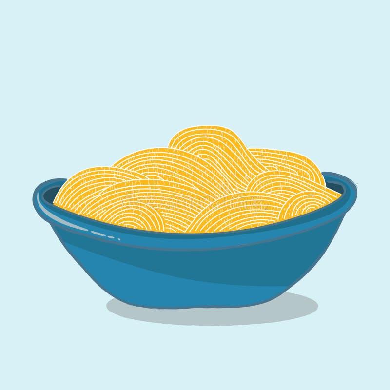 Vector a ilustração, bacia azul completamente de macarronetes amarelos ilustração stock