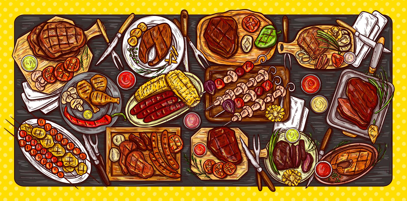 Vector a ilustração, a bandeira culinária, o fundo do assado com carne grelhada, as salsichas, os vegetais e os molhos ilustração stock