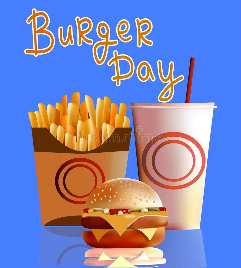 Vector a ilustração, bandeira, hamburguer, fritadas, cola, fast food ilustração stock