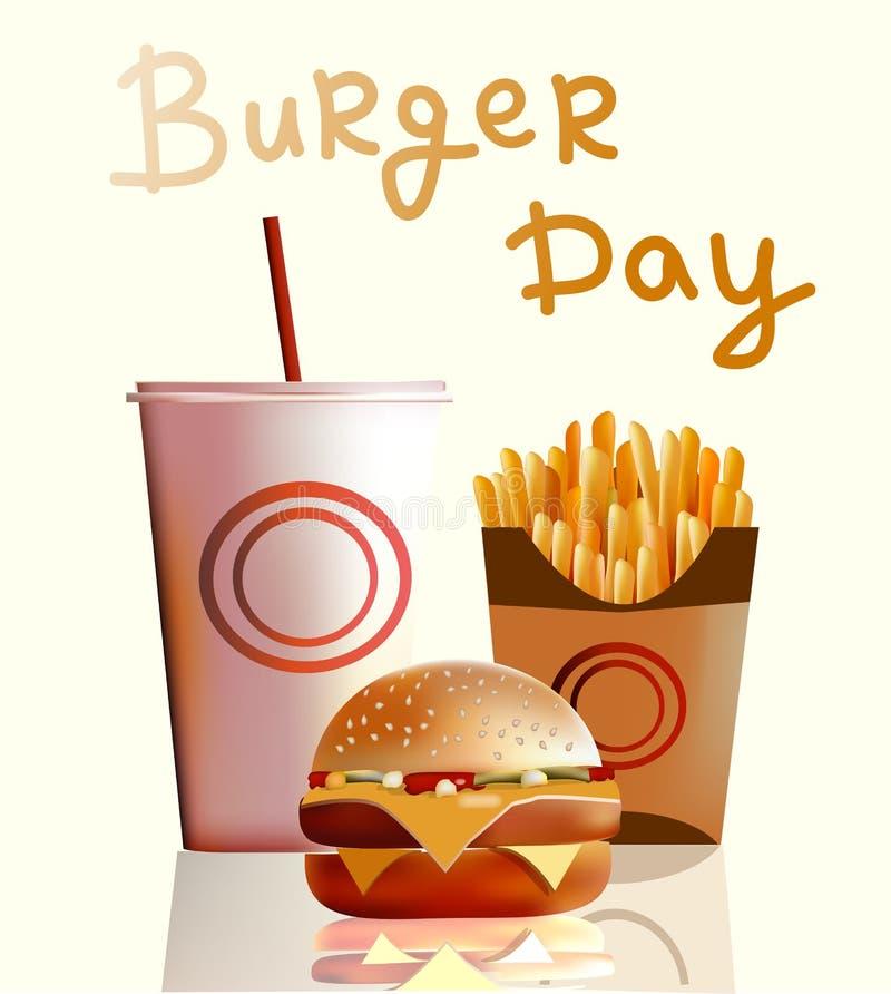 Vector a ilustração, bandeira, hamburguer, fritadas, cola, fast food ilustração do vetor