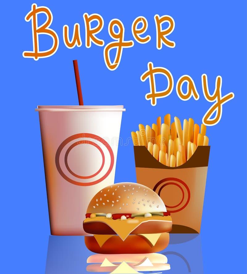 Vector a ilustração, bandeira, hamburguer, fritadas, cola, fast food ilustração royalty free
