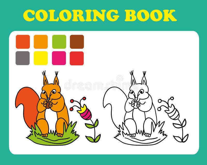 Vector a ilustração, bonito um esquilo com uma porca, conceito do cartão, fundo branco ilustração do vetor