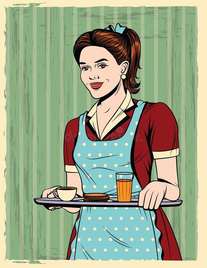Vector a ilustração cômica colorida do estilo do pop art de uma dona de casa bonita com um alimento da bandeja ilustração stock