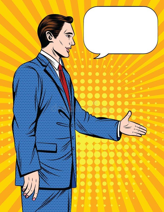 Vector a ilustração cômica do estilo do pop art colorido de um aperto de mão do homem do escritório sobre o fundo de intervalo mí ilustração royalty free