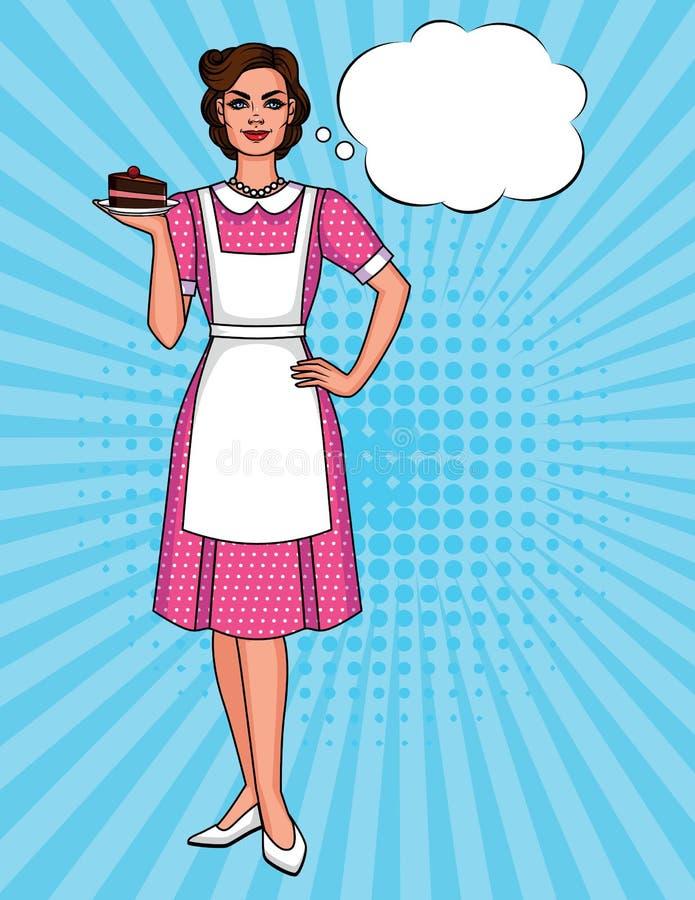 Vector a ilustração cômica do estilo do pop art colorido de uma mulher bonita no avental com a placa do bolo ilustração stock