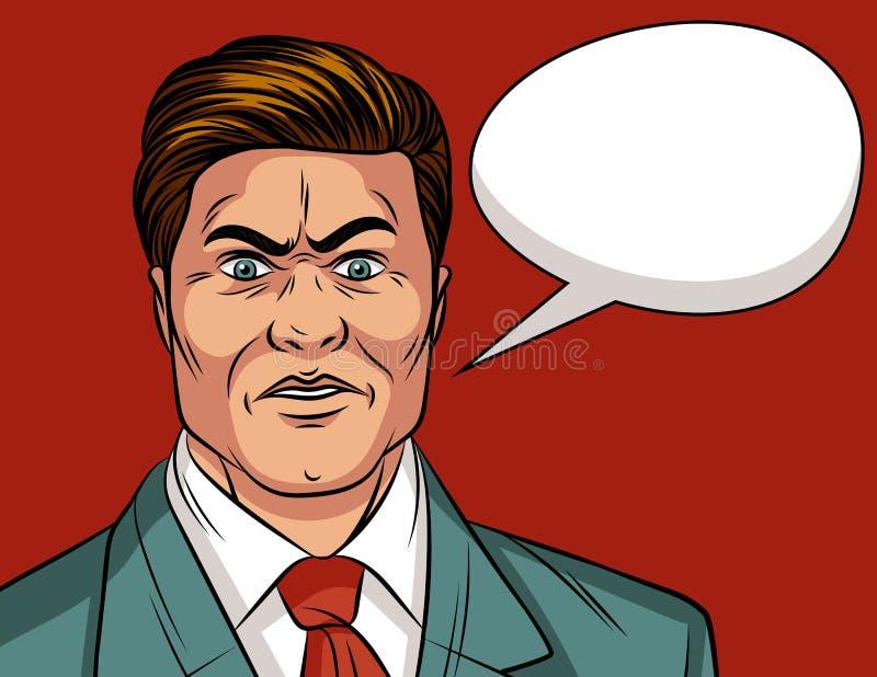 Vector a ilustração cômica do estilo do pop art da cor de um homem chocado ilustração stock