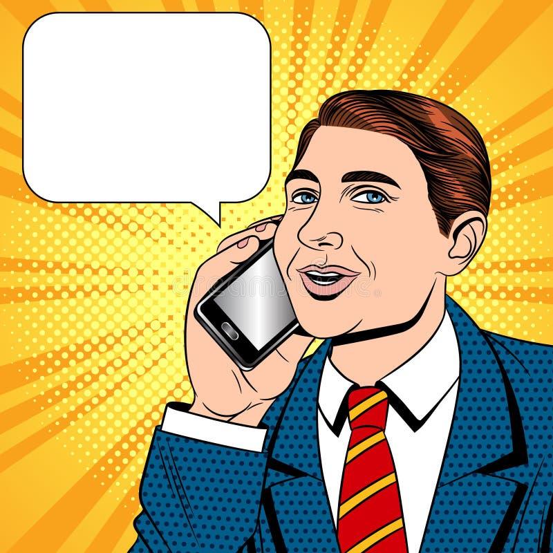 Vector a ilustração cômica do estilo do pop art da cor de um homem novo que fala em um telefone celular ilustração stock
