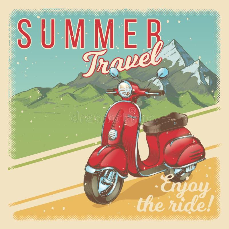 Vector a ilustração, cartaz com o 'trotinette' vermelho do vintage, bicicleta motorizada no estilo do grunge ilustração do vetor