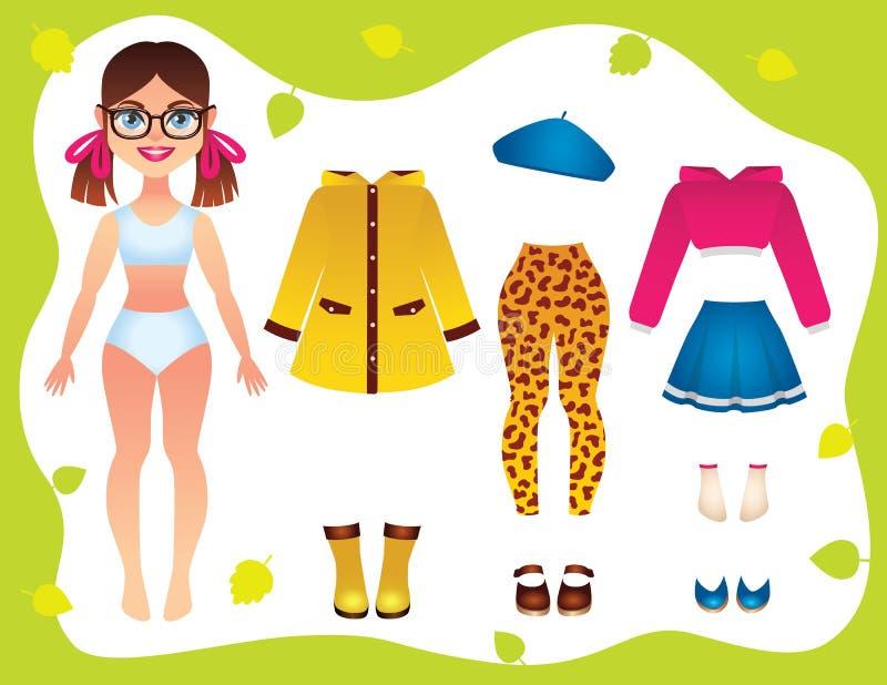 Vector a ilustração colorida da roupa do vestuário do outono para a menina adolescente ilustração royalty free