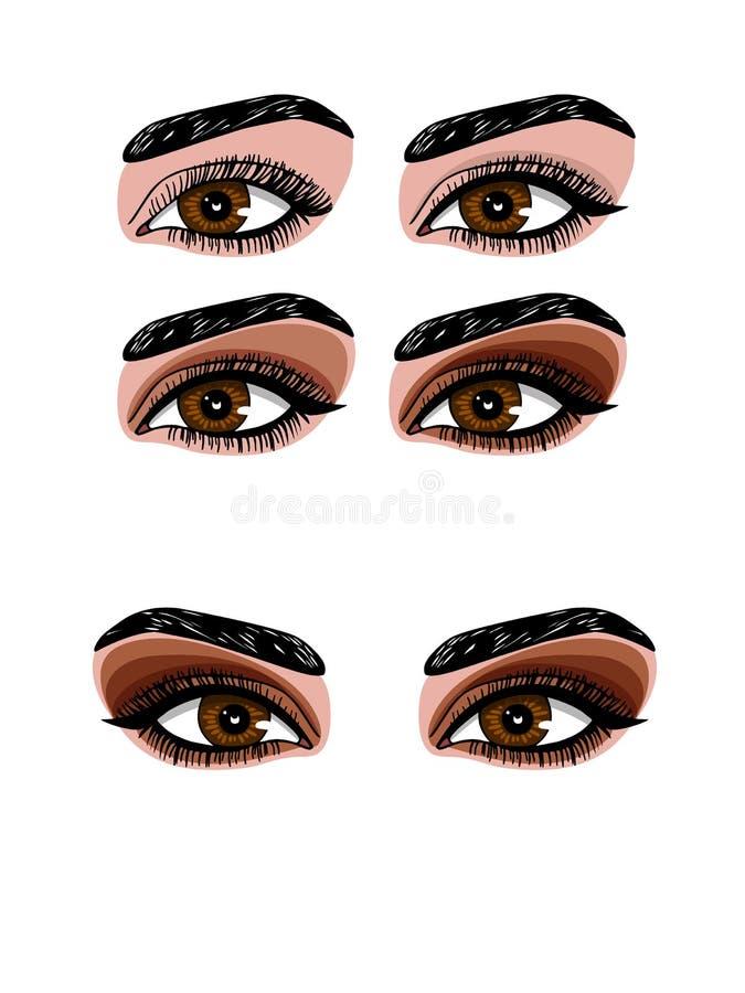 Vector a ilustração colorida de uma composição no estilo fumarento do olho ilustração stock