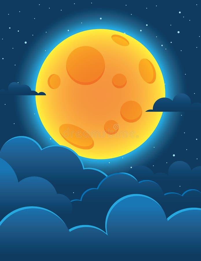 Vector a ilustração colorida de uma lua brilhante em um fundo de uma obscuridade - céu azul ilustração do vetor