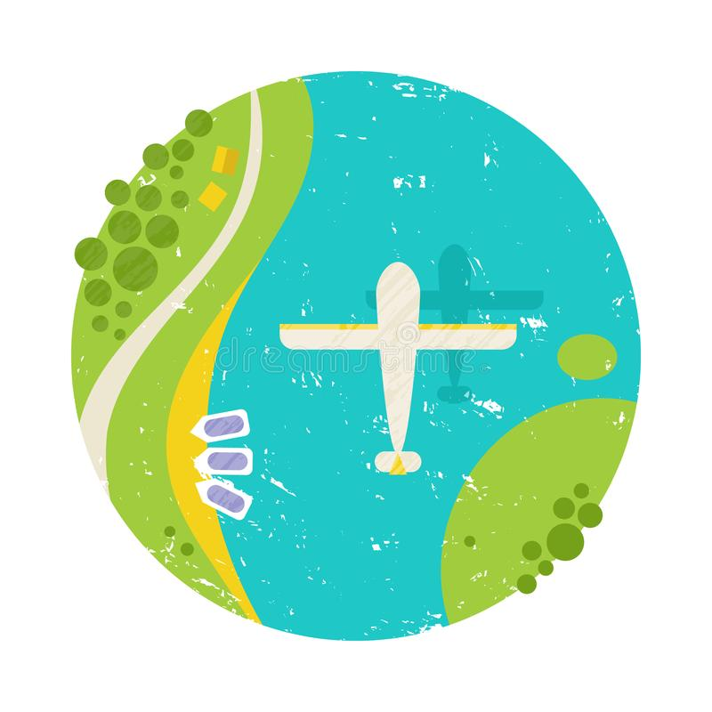 Vector a ilustração colorida do verão, viajando, feriados Plano branco de voo sob o rio, mar ilustração do vetor