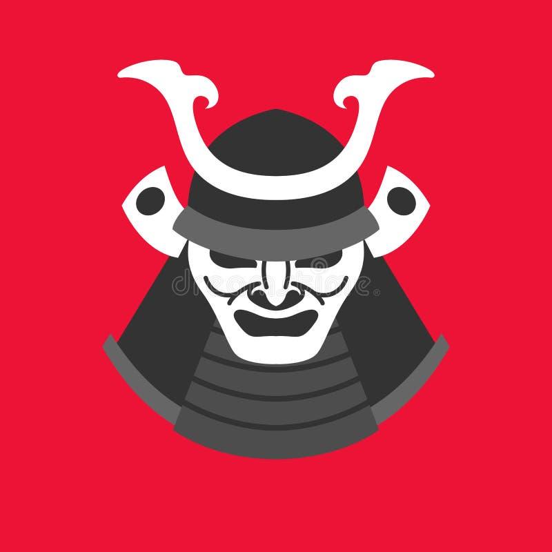 Vector a ilustração com a armadura de um samurai no estilo liso minimalistic ilustração royalty free