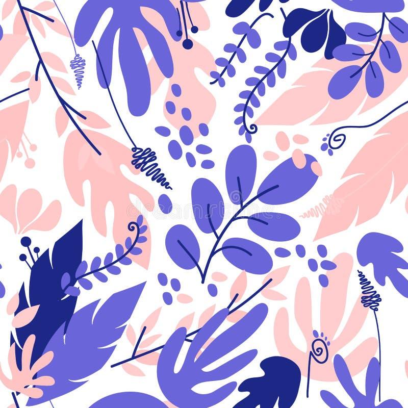 Vector a ilustração com as flores e as folhas tropicais coloridas ilustração royalty free
