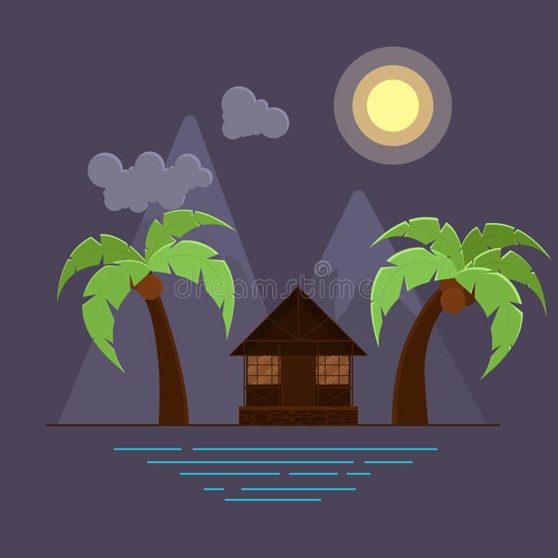 Vector a ilustração com duas palmas e o bungalow na praia ilustração stock