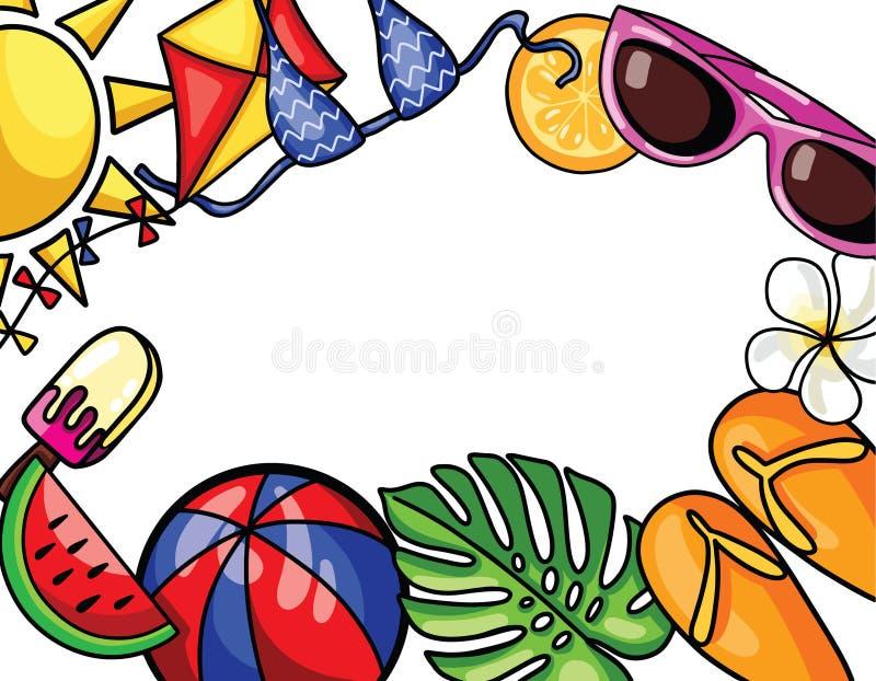 VECTOR a ilustração com elementos coloridos da praia no fundo do quadro para a temporada de verão ilustração stock