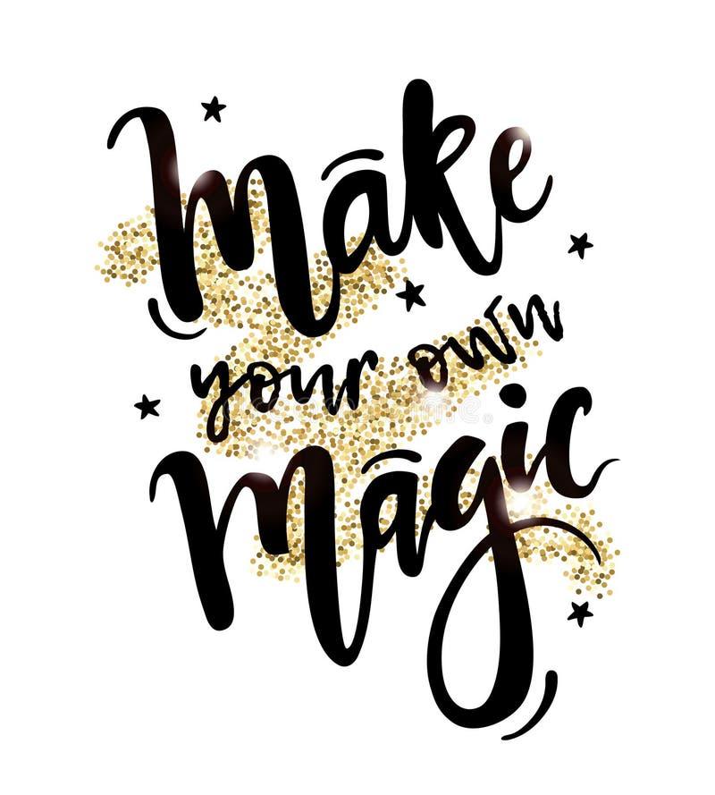 Vector a ilustração com fazem suas próprias citações inspiradas mágicas ilustração stock