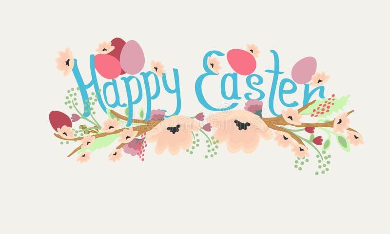 Vector a ilustração com frase feliz do ` da Páscoa do `, flores da mola e ovos ilustração stock