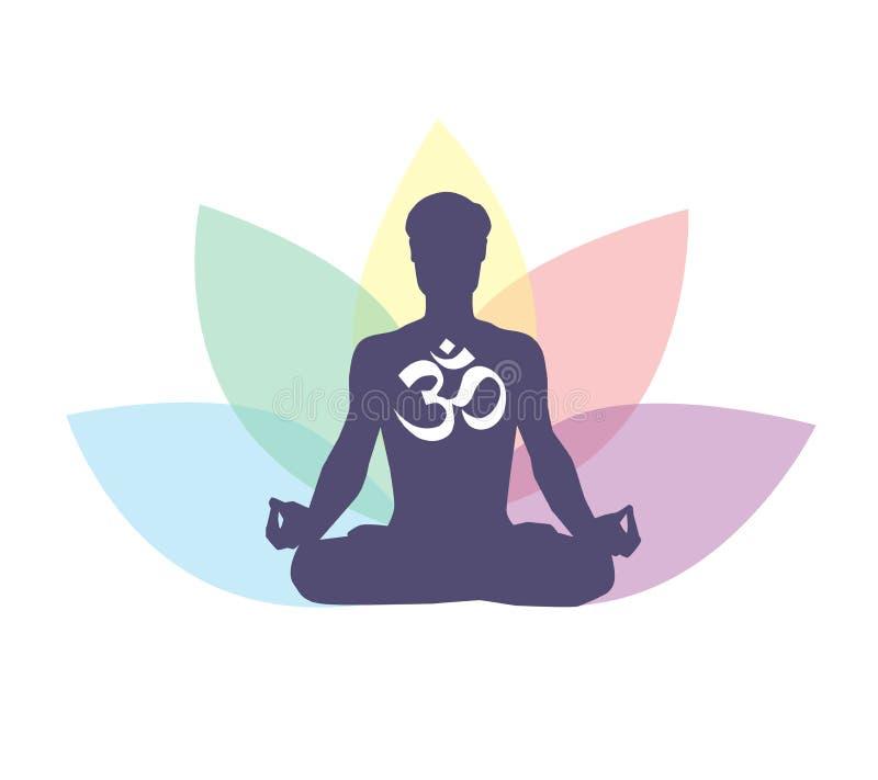 Vector a ilustração com meditar o homem, o símbolo religioso OM e as pétalas dos lótus atrás ilustração stock