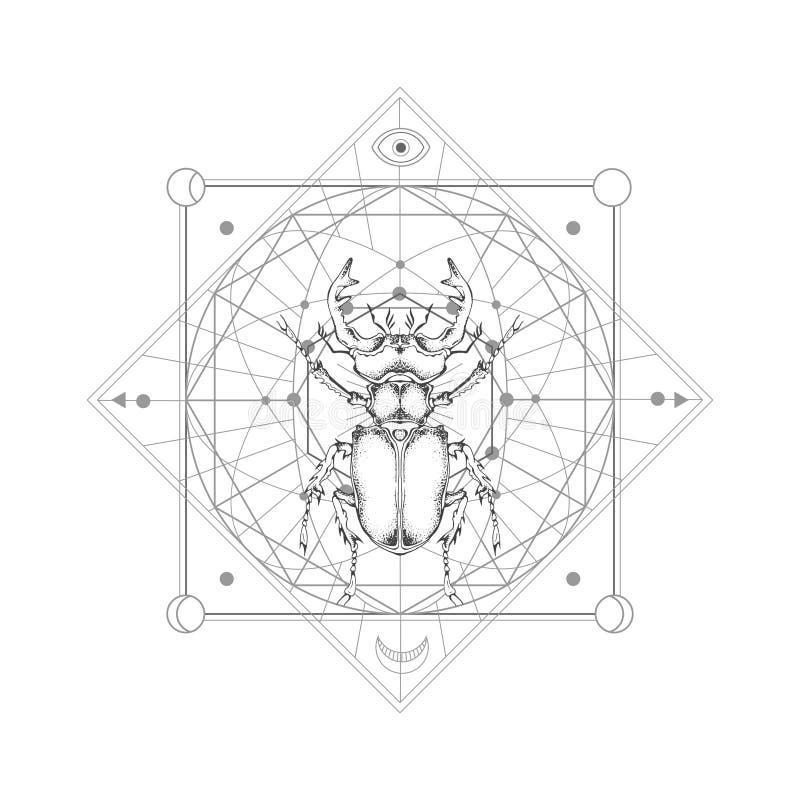 Vector a ilustração com o besouro de veado tirado mão e o símbolo geométrico sagrado no fundo branco Sinal místico abstrato ilustração stock