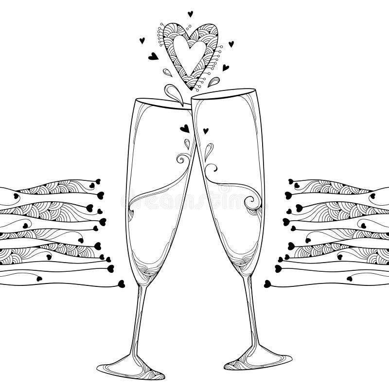 Vector a ilustração com o contorno dois que brinda o vidro do champanhe e o coração ornamentado no preto isolados no fundo branco ilustração stock