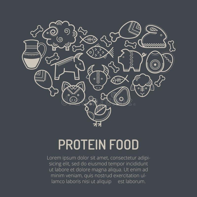 Vector a ilustração com os ícones esboçados do alimento que formam uma forma do coração ilustração stock