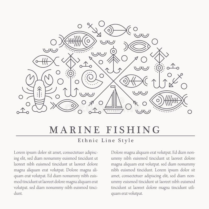 Vector a ilustração com os sinais esboçados náuticos e da pesca que formam um metade-círculo ilustração royalty free