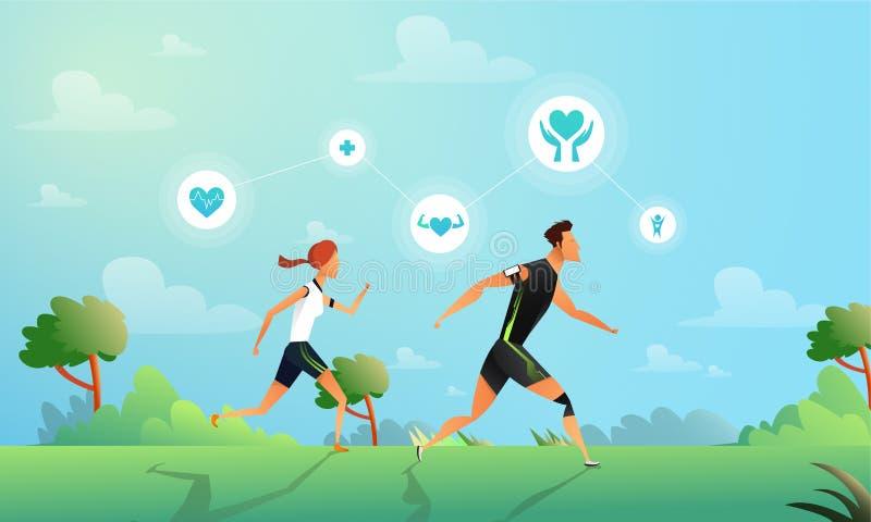 Vector a ilustração com pares running no estilo liso Mulher e homem que fazem o treinamento no parque Esporte e saudável ilustração royalty free