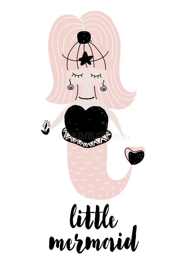 Vector a ilustração com a sereia pequena no estilo scnadinavian isolada no fundo branco Pode ser usado como o cartão, t-shirt ilustração royalty free