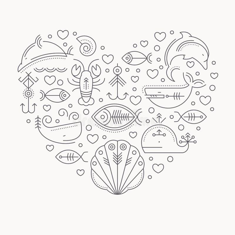 Vector a ilustração com sinais esboçados dos animais marinhos que formam um coração ilustração stock