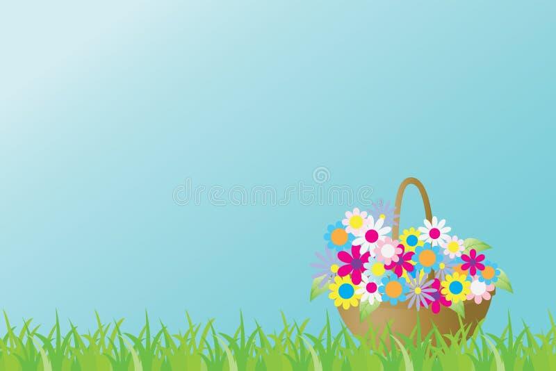Vector a ilustração com uma cesta de flores da mola do brighte de uma grama fotos de stock royalty free