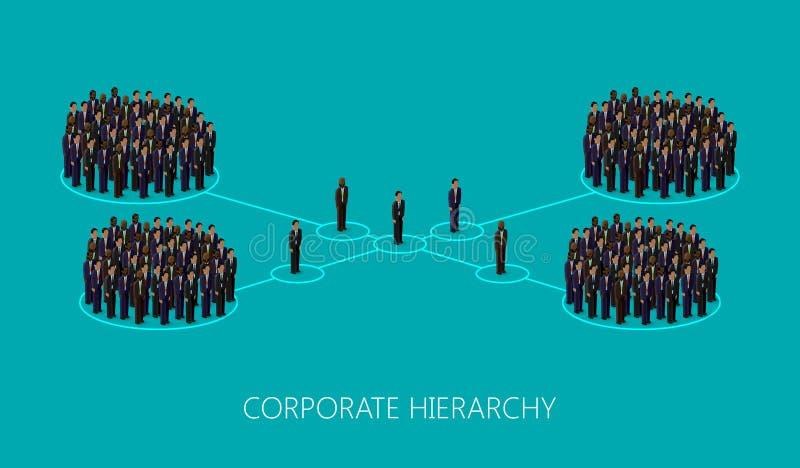 Vector a ilustração 3d isométrica de uma estrutura incorporada da hierarquia Conceito da liderança organização da gestão e do pes ilustração royalty free