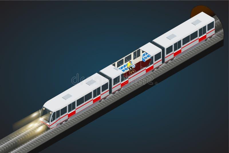 Vector a ilustração 3d isométrica lisa de um metro Trem, trem de céu, metro Os veículos projetaram levar grande ilustração do vetor