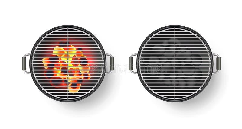 Vector a ilustração 3d realística da grade vazia redonda do assado com carvão quente, isolada no fundo branco Opinião superior do ilustração do vetor