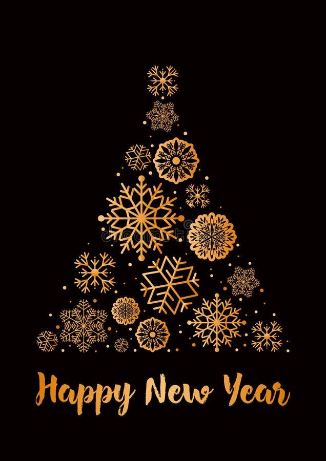 Vector a ilustração da árvore de Natal feita dos flocos de neve na cor dourada no estilo liso Ano novo feliz do cartão ilustração royalty free
