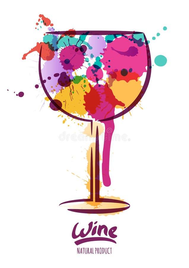 Vector a ilustração da aquarela do vidro de vinho colorido e da rotulação tirada mão ilustração royalty free