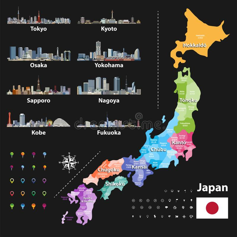 Vector a ilustração da bandeira japonesa e as prefeituras traçam colorido por regiões Skylines da cidade a maior ilustração royalty free