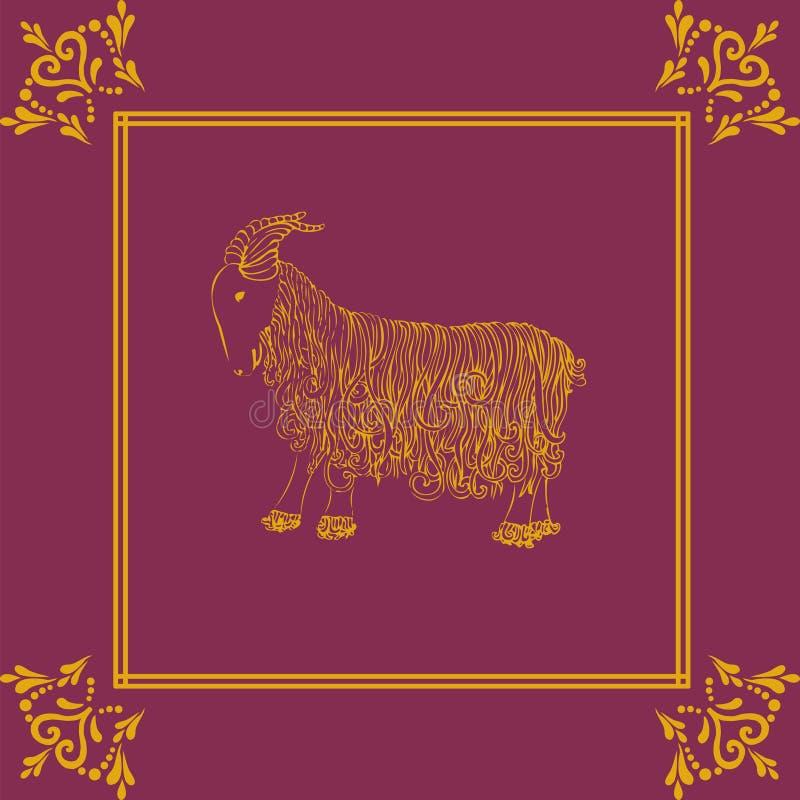 Vector a ilustração da cabra dourada, símbolo de 2015 no calendário dos lombos ilustração do vetor