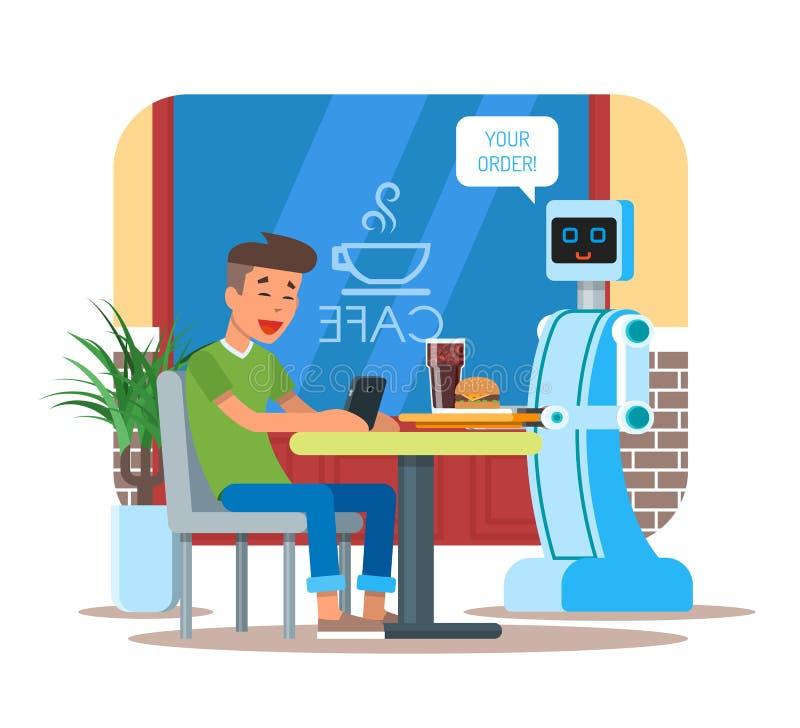 Vector a ilustração da cola do serviço do garçom do robô, Hamburger ao visitante ilustração stock