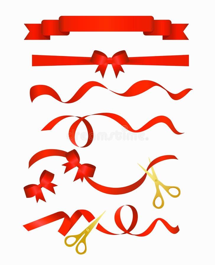 Vector a ilustração da coleção vermelha das fitas com tesouras douradas, isolada no fundo branco ilustração do vetor