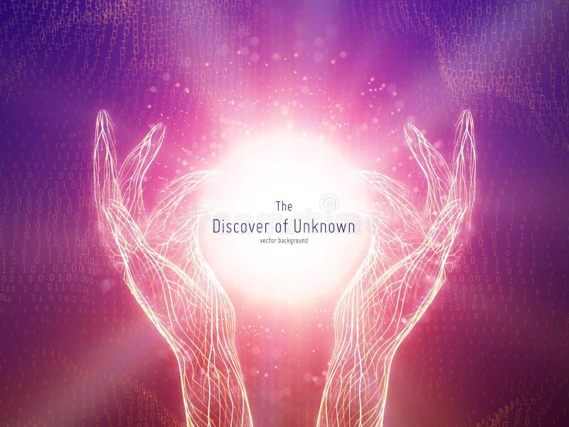 Vector a ilustração da esfera de incandescência em duas mãos Conceito da descoberta de conhecimento desconhecido, brilhando Cyber ilustração stock