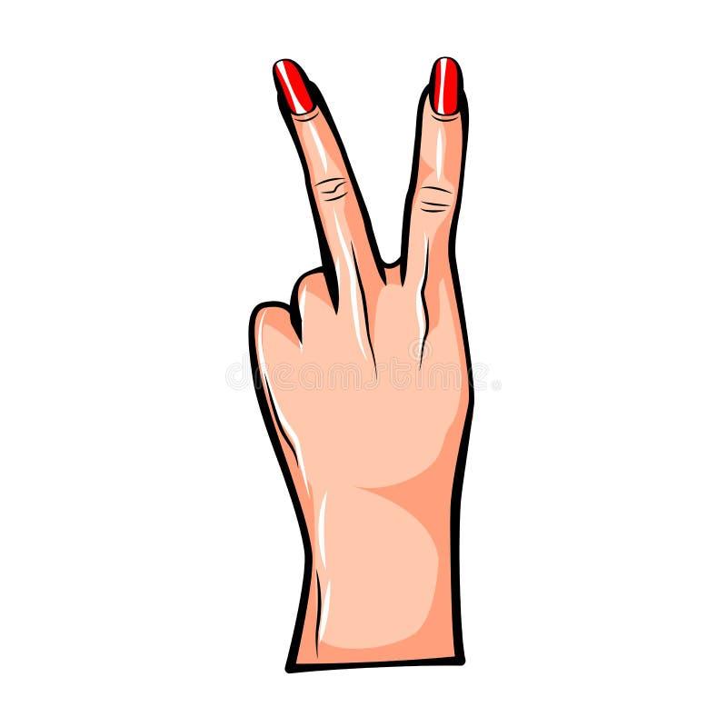 Vector a ilustração da etiqueta do remendo do divertimento da forma com meninas dois dedos e palmas como o gesto da paz no estilo ilustração stock
