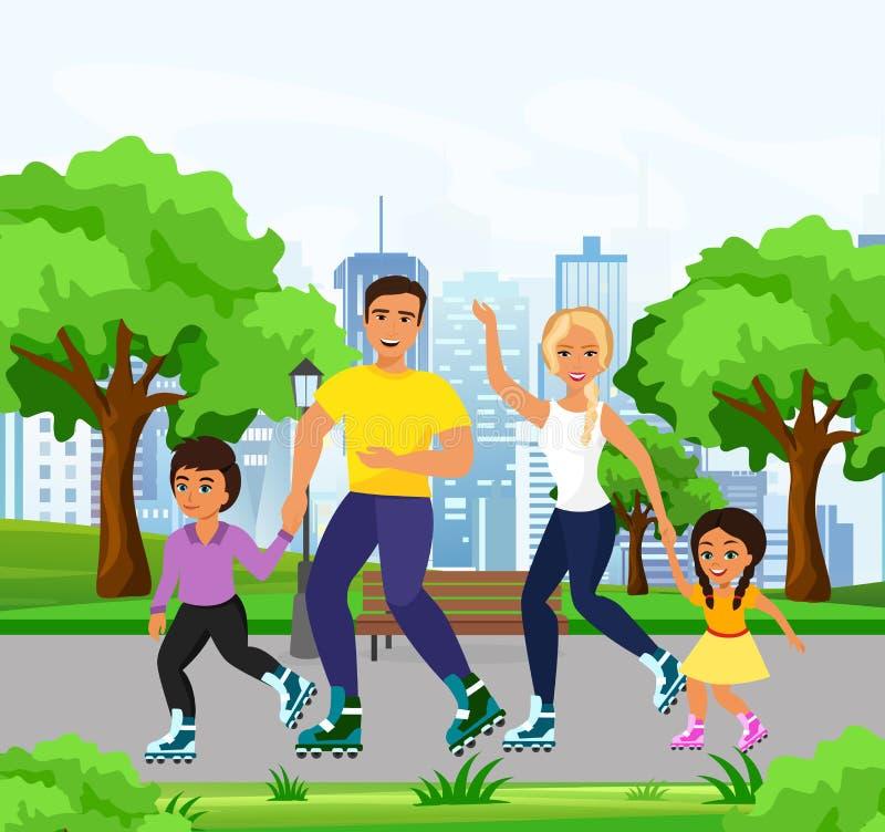 Vector a ilustração da família feliz e do smiley que patina em patins de rolo no parque Patinagem do paizinho, da mamã, da filha  ilustração stock