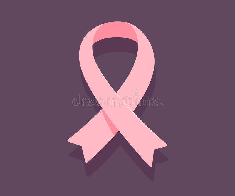 Vector a ilustração da fita cor-de-rosa, símbolo da conscientização do câncer em d ilustração stock