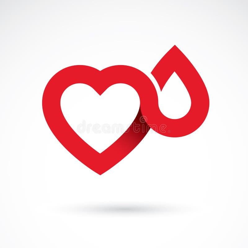 Vector a ilustração da forma do coração e as gotas de sangue Cardiovas ilustração do vetor
